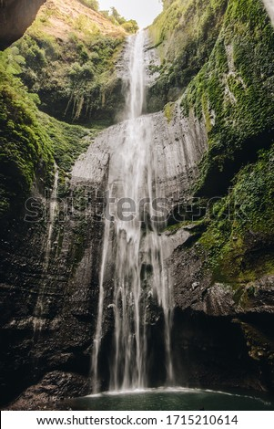 Beautiful view of Madakaripura waterfalls the tallest waterfalls in Java island and second tallest waterfalls in Indonesia.