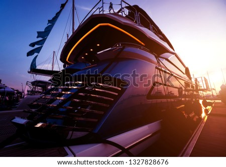 Beautiful view of marina and harbor with yachts and motorboats. Background #1327828676