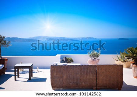 Beautiful View of Mediterranean Santorini Aegean Sea Seascape