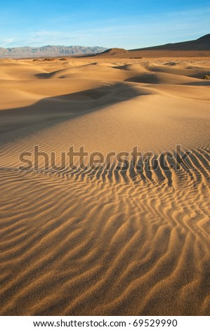 Beautiful view of Mesquite Dunes in Death Valley, California.