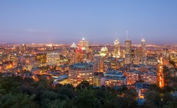 Beautiful view of Montreal after sunset, in quebec Canada