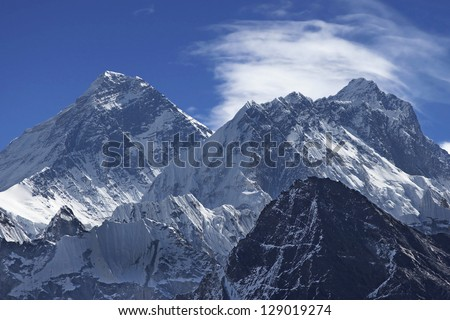 Beautiful view of Mount Everest (8848 m) from the Gokyo Peak Summit, Nepal, Himalayas