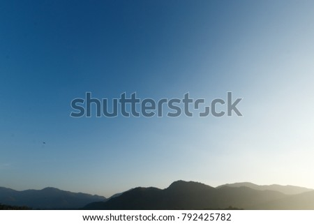 beautiful view of mountain on blue sky natural background
