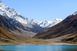 Beautiful view of mountainous lake Saiful Muluk in Naran Valley, Mansehra District, Khyber-Pakhtunkhwa, Northern Areas of Pakistan