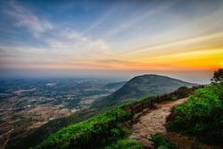 Beautiful view of Nandi hills during sunset, Nandi Hills is located near to Bengaluru or Bangalore, Karnataka, India