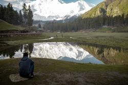 Beautiful View of Nanga Parbat mountain from Fairy Meadows, Gilgit baltistan, Pakistan