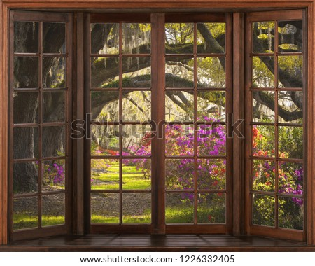 Beautiful view of nature from the window. 3D illustration