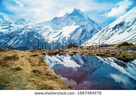 Beautiful view of nature on a trekking trail to the Annapurna base camp, the Himalayas, Nepal. Himalayas mountain landscape in the Annapurna region. Annapurna base camp trek