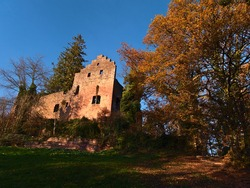 Beautiful view of old ruined castle Burg Zavelstein located in Bad Teinach-Zavelstein, Black Forest, Germany with stone wall, foliage, colorful trees and blue sky in fall season.