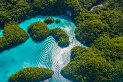 Beautiful view of Palau tropical islands and Pacific ocean from above.