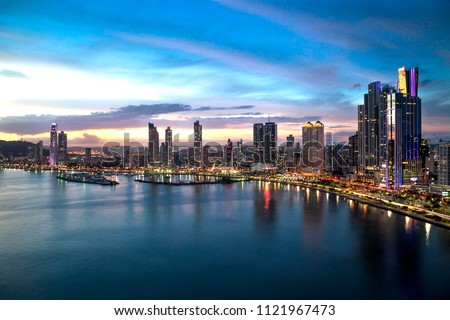 Beautiful view of Panama City - Cinta Costera. #1121967473