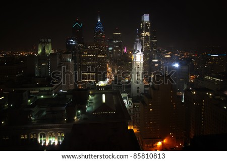 Beautiful view of Philadelphia cityscape at night time