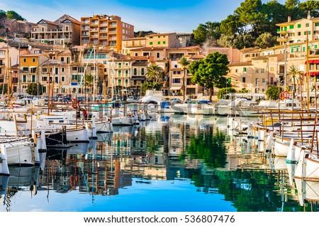 Beautiful view of Port de Soller, Majorca island, Spain Mediterranean Sea. Foto stock ©
