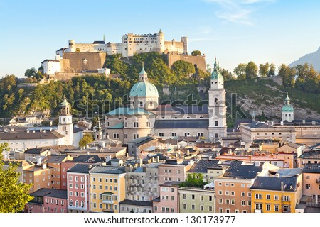 Beautiful view of Salzburg skyline with river Salzach at sunset as seen from Kapuzinerberg in Salzburg, Salzburger Land, Austria