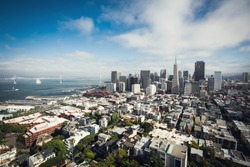 Beautiful view of San Francisco on sunny day in summer, USA