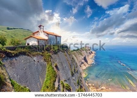 beautiful view of San Telmo chapel in Zumaia in Gipuzkoa Foto stock ©