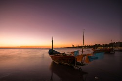 Beautiful view of seascape in the sunset at Ban Kon Ao, Rayong, Thailand.