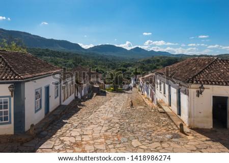 Beautiful view of some colonial Brazilian houses at Tiradentes - Tiradentes, Minas Gerais, Brazil Foto stock ©