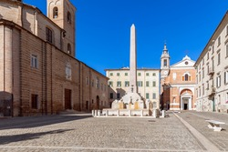 Beautiful view of square (Piazza Federico II) in Jesi town. Marche, Italy