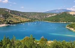 Beautiful view of St. Croix lake in Verdon near Bauduen village, Provence, France