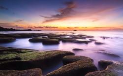Beautiful view of sunset seascape at Kudat, Malaysia. Kudat is the northest part of Borneo island, Malaysia.
