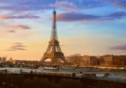 Beautiful view of Sunset sky scene at Eiffel tower, Paris. France