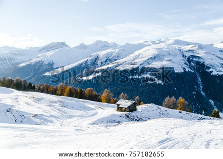 Beautiful view of the Alps covered with snow. Davos, Switzerland #757182655