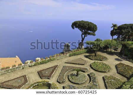 Beautiful view of the Amalfi Coast from the Rufolo Gardens in Ravello, Italy.