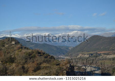 Beautiful View Of The Aragonese Pyrenees From The Rooftops Of Ainsa. Travel, Landscapes, Nature. December 26, 2014. Ainsa, Huesca, Aragon.