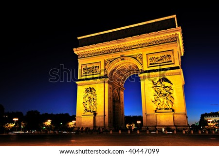 Beautiful  view of the Arc de Triomphe at sunset, Paris