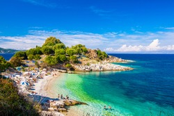 Beautiful view of the beach in an old village of Corfu Island