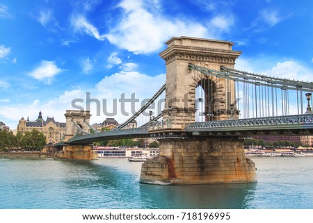 Beautiful view of the Chain Bridge over the Danube in Budapest, Hungary #718196995