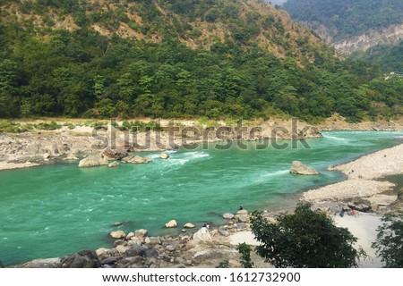 Beautiful view of the clear Ganga river in Rishikesh, India Foto stock ©