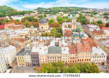 Beautiful view of the Dominican Cathedral, the Assumption Church and the historic center of Lviv, Ukraine, on a sunny day #776986681