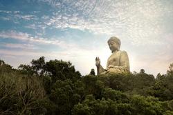Beautiful view of the Giant Buddha in Hong Kong, China