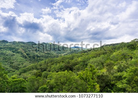 Beautiful view of the green hills covered in forests and dramatic clouds, Santa Cruz mountains, south of San Jose, San Francisco bay area, California