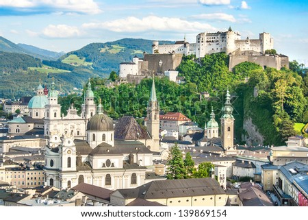 Beautiful view of the historic city of Salzburg with Festung Hohensalzburg in summer, Salzburger Land, Austria
