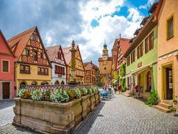 Beautiful view of the historic town of Rothenburg ob der Tauber, Franconia, Bavaria, Germany