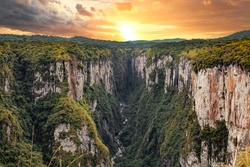 Beautiful view of the Itaimbezinho Canyons in Cambará do Sul. Brazil. Sunset in Canyons.