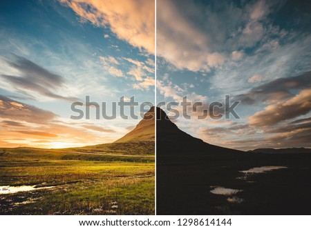Beautiful view of the Kirkjufell volcano. Location Iceland, Europe. Images before and after. Original or retouch, example of photo editing process. Beauty of earth. Picture in half of editing process.