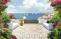 Beautiful view of the Mediterranean. Santorini.Digital mural. Digital fresco.