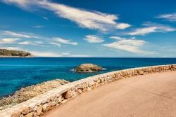 Beautiful view of the Mediterranean Sea with the rocky coast on the Spanish Balearic island Mallorca near cala ratjada
