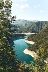 Beautiful view of the natural landscape in Montenegro. Piva reservoir with turquoise water.