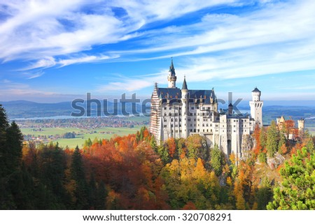 Beautiful view of the Neuschwanstein castle in autumn \ \ Neuschwanstein is a palace in Bavaria, Germany. Today Neuschwanstein is one of the most popular of all the palaces and castles in Europe.