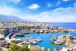Beautiful view of the new port of Kyrenia (Girne), North Cyprus