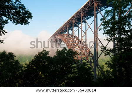 Beautiful view of the New River Gorge Bridge in West Virginia.  The largest Steel-Arch bridge in the Western Hemisphere