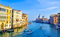 Beautiful view of the old architecture among the Grand Canal in Venice, Italy
