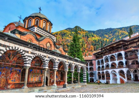 Beautiful view of the Orthodox Rila Monastery, a famous tourist attraction and cultural heritage monument in the Rila Nature Park mountains in Bulgaria