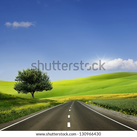 Beautiful view of the paved road #130966430