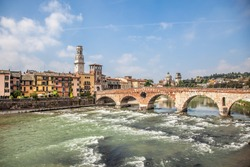 Beautiful view of the Ponte Pietra (Italian for
